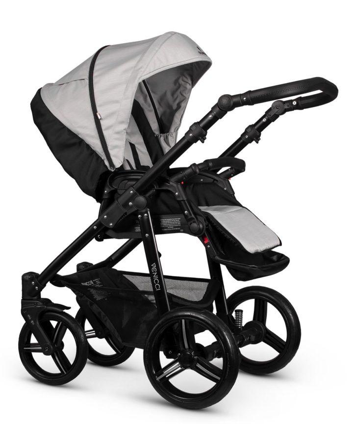 Venicci Soft Light Grey Seat Unit Black Frame