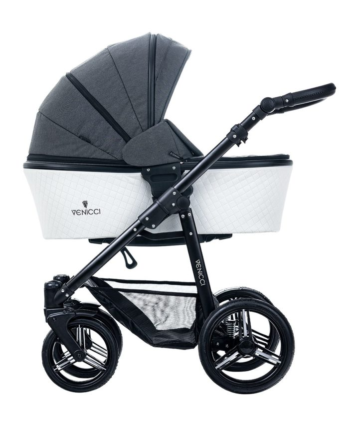 Venicci Pure Denim Black Carry Cot Black Frame