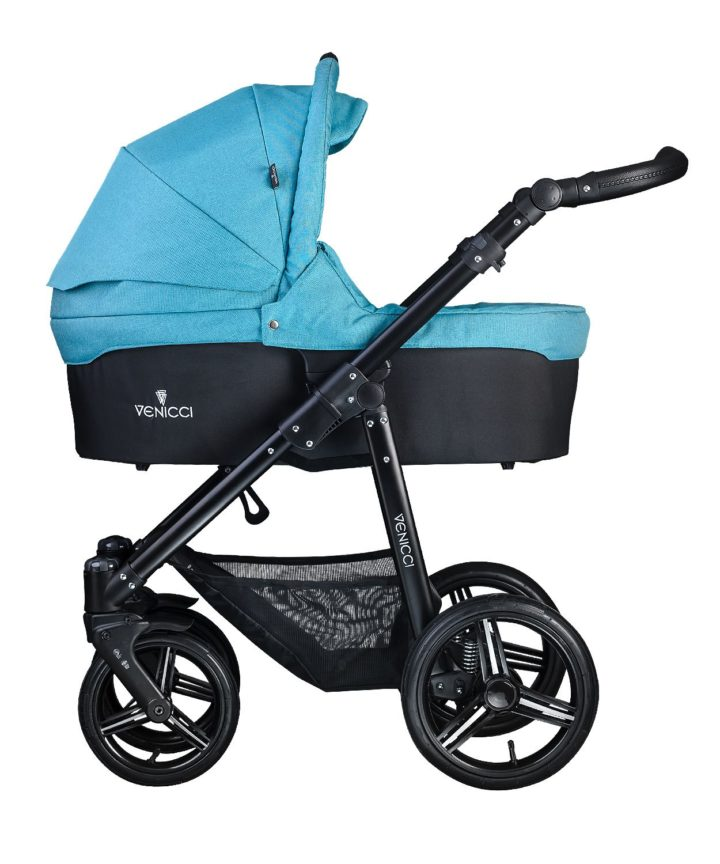 Venicci Soft Denim Sky Carry Cot Black Frame