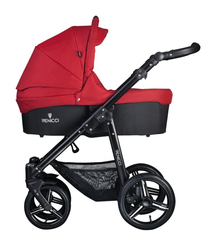 Venicci Soft Denim Red Carry Cot Black Frame