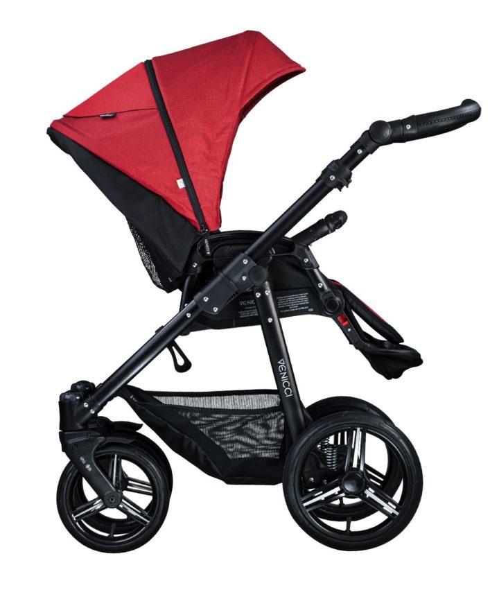 Venicci Soft Denim Red Seat Unit Black Frame