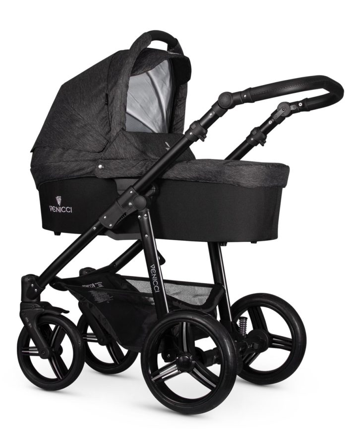 Venicci Soft Denim Black Carry Cot Black Frame