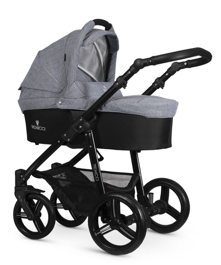 Venicci Soft Denim Grey Carry Cot Black Frame